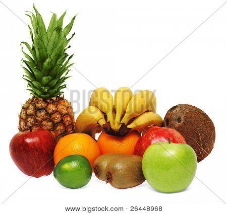 Colorful fresh fruits isolated on white background