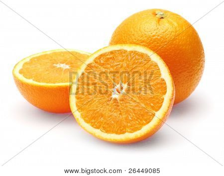 Neatly retouched orange isolated on white background