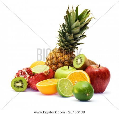 Group of fresh fruits, focus on pineapple