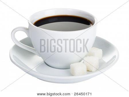 Tasse starken Kaffee, isoliert auf weißem Hintergrund