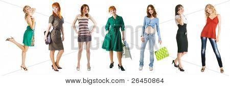 Group of young beautiful girls on shopping, isolated on white background