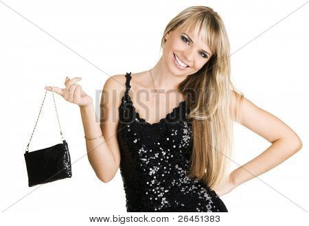 Young beautiful woman in evening gown, isolated on white background