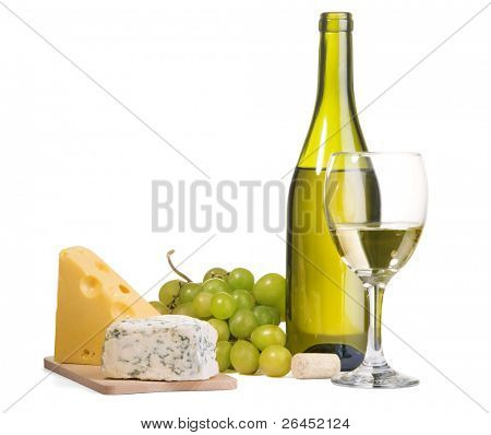 White wine and different sorts of cheese still-life
