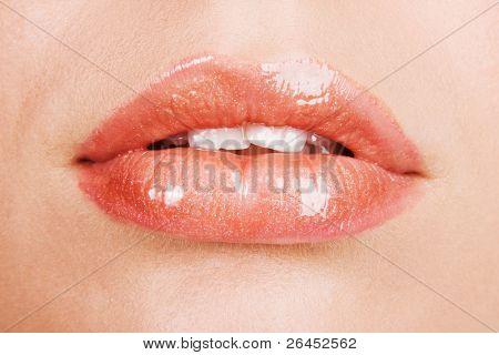 Beautiful female lips closeup