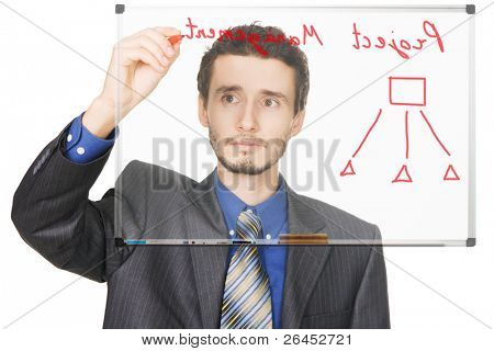Young businessman writing on whiteboard, face view