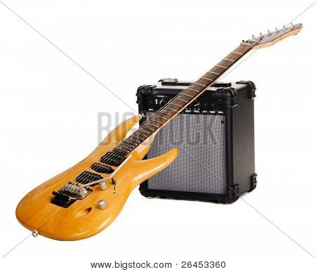 Electric guitar with amplifier, white background