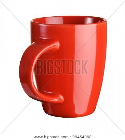 Red tea cup over white background