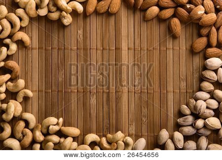 Background made of cashew, pistachio and almond