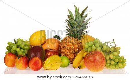 Assortment of exotic fruits, isolated on white background
