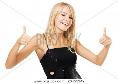 "Young beautiful woman showing ""Thumbs up"" sign. Isolated on white background"
