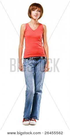 Pretty girl in casual style clothing on white background