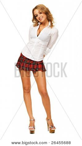 Lovely sexy girl in checkered short skirt against white background