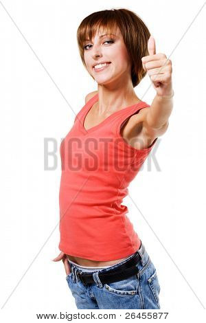 "Lovely girl showing ""Thumbs up"" sign, white background"