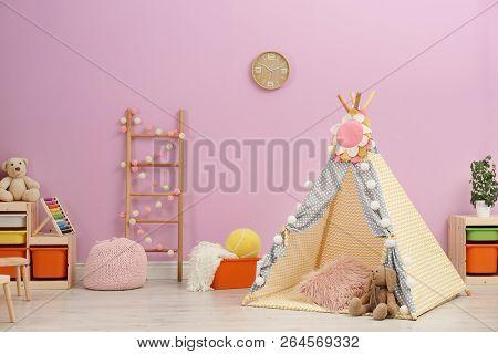 Modern Nursery Room Interior With