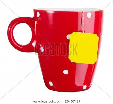Red cup of tea isolated on white