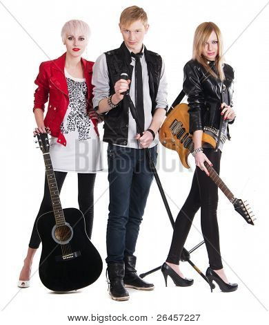 Teenage rock band against white background