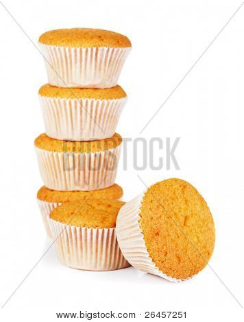 Stack of sweet muffins against white background