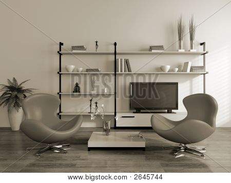 Modern Interior (Sepia) With Armchairs