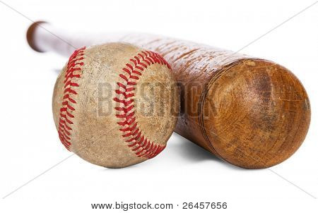 Wooden baseball bat and ball isolated on white background