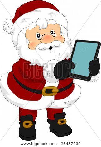 Abbildung von Santa Claus mit einen Tablet PC