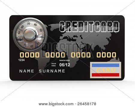 Tarjeta de crédito con cerradura de seguridad de acero sobre fondo blanco. 3D