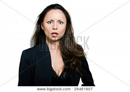Portrait of beautiful expressive distraught Asian woman in studio isolated on white background