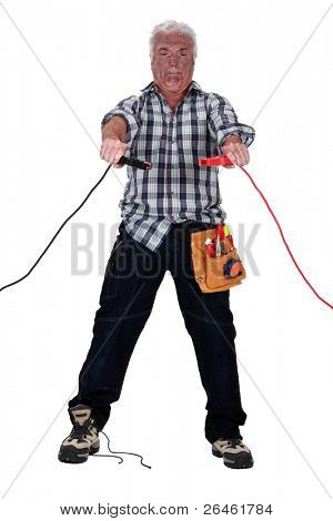 Technician being electrocuted