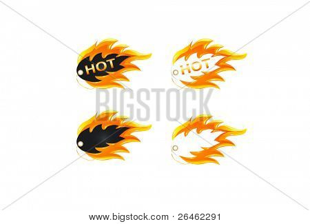 Burning label or icon