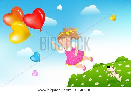 Smiling Girl flying on colorful balloons above green grass hill and her dog