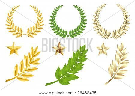 Set Of Wreathes, Stars And Laurel Branches, Isolated On White
