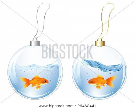 New Year Glasses Balls With Blue Fish And Goldfish In Water Inside