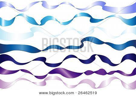 Set de 7 azul Color cintas (azul, azul marino, azul claro, violeta, Magenta y otros), aisladas en blanco