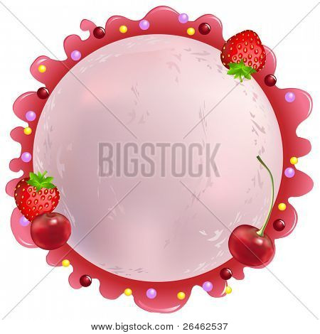 Pink Ice-Cream Ball With Cherry And Strawberry, Isolated On White
