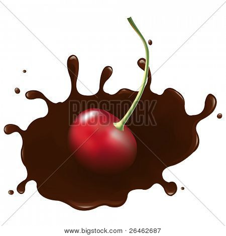 Chocolate-dipped Cherry With Splash, Isolated On White