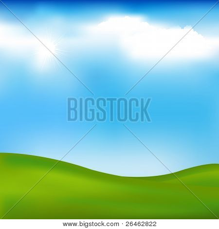 Background With Landscape - Hills, Blue Sky And Clouds, Vector Illustration
