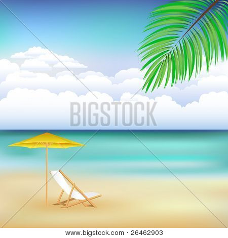 Beautiful Vector Background With Beach, Chaise, Beach Umbrella And Blue Sky