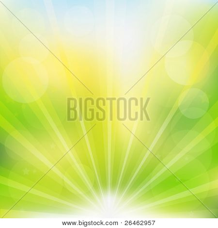 Abstract Green Vector Background With Beams