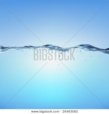 Blue Water Wave, Vector Illustration