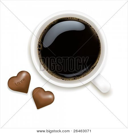 Cup Of Coffee With Chocolate, Isolated On White Background, Vector Illustration