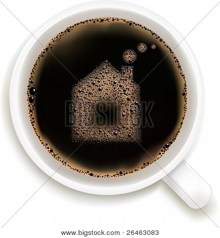 Cup Of Coffee With House Image, Isolated On White Background, Vector Illustration