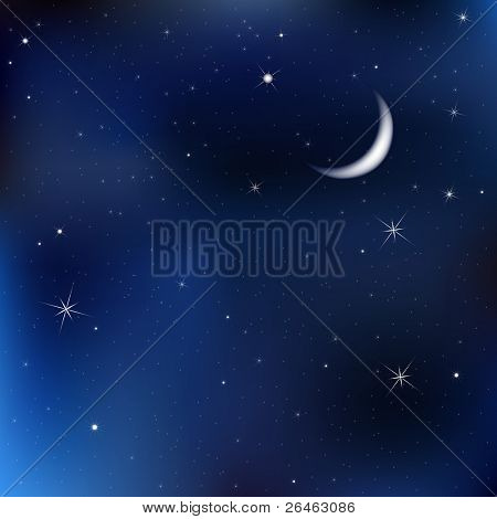 Dark Blue Sky With Stars And Moon, Vector Illustration