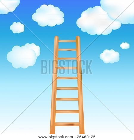 Ladder In Blue Sky, Vector Illustration