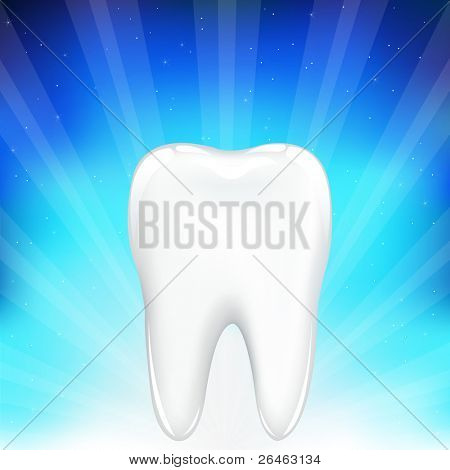 White Tooth, On Blue Background With Beams And Stars, Vector Illustration