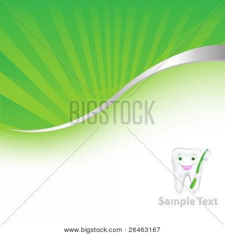 Plano de fundo verde Dental com o dente, ilustração vetorial