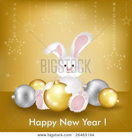 New Year's Card Whit Rabbit, Symbol Of New Year 2011, Vector Illustration