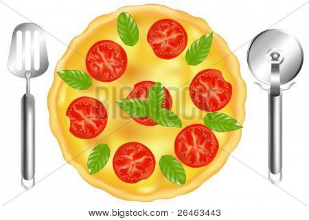 Freshly Baked Pizza With Tomatoes, Basil And Black, With Pizza Spatula And Pizza Cutter, Isolated On White