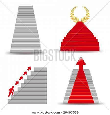 4 Staircases,  Isolated On White Background