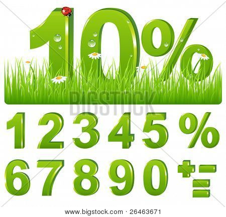 Set Of Green Discount Figures And Percent And Signs For Your Design, Isolated on white