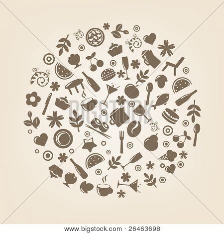 Restaurante los iconos en forma de esfera, Vector Illustration