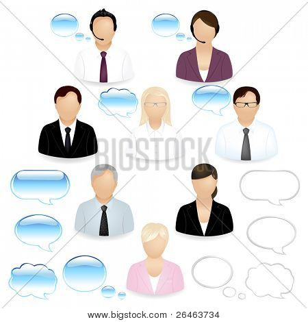 8 Business People Icons With Dialog Bubbles, Isolated On White
